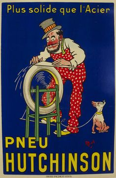 Pneu Hutchinson - Plus Solid que l'Acier 1910 Original Poster – Rue Marcellin Original Vintage Posters & Prints @Rue Mapp Marcellin ruemarcellin.com