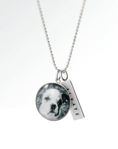 Love My Pet Custom Pet Photo Necklace - Sterling Silver Large Charm and Personalized Hand Stamped Tag - Jewelry with Your Dog or Cat Picture. $66