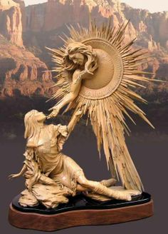 People of the Sun, Lady of The Pearl by Chuck Oldham Creation story of the Yavapai Indians of Arizona. Kunst Inspo, Art Inspo, Art And Illustration, Stone Sculpture, Sculpture Art, Fantasy Kunst, Fantasy Art, Statues, You Are My Moon