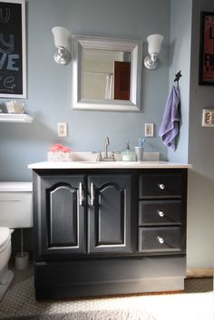 Bathroom Vanity Makeover with Chalk Paint