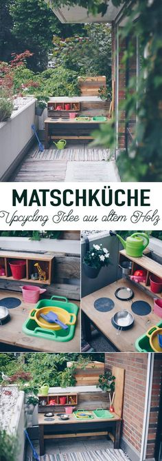 Building a DIY slush kitchen from an old table - upcycling idea - ~ Baby, Kind & Familie ~ - DIY mud kitchen build yourself – DIY for children – Upcycling from an old table and pallet – - Diy Furniture Couch, Refurbished Furniture, Furniture Projects, Garden Furniture, Outdoor Furniture Sets, Outdoor Decor, Diy Mud Kitchen, Home Decor Kitchen, Upcycled Furniture Before And After