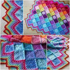 Happy Harlequin Crochet Blanket Free Pattern