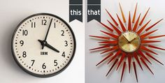 This or That? 50s or 70s?  www.roomie.co.nz/blog/ Clock, Wall, Home Decor, Watch, Homemade Home Decor, Clocks, Interior Design, Home Interiors, Decoration Home