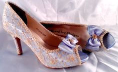 These Marie Antoinette lace wedding shoes may be dyed any color. They are covered with vintage English lace. These are high heels but they may