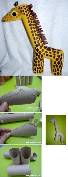 Giraf knutselen met wc-rolletjes en keukenrol