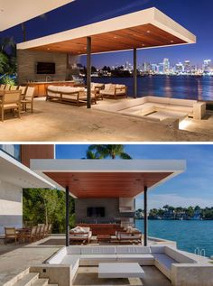 Choeff Levy Fischman Design A New Home For The Miami Waterfront This modern outdoor space has a sunken outdoor living room that sits beneath the level of the pool, and is located between the pool and the outdoor summer kitchen and dining area. Modern Outdoor Living, Modern Outdoor Kitchen, Outdoor Living Rooms, Outdoor Spaces, Modern Living, Outdoor Cabana, Pool Cabana, Outdoor Pergola, Outdoor Pool
