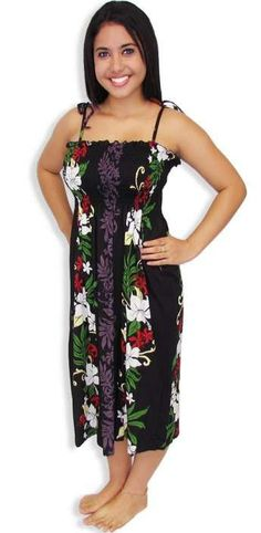 Mid-length Tube Top Rayon Hawaiian Dress - Lokelani