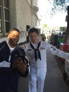 The Nathan James new opponent: Dracula Miller!  Jocko  Sims and Kevin Michael Martin on set of The Last Ship