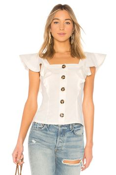 online shopping for LPA Button Up Ruffle Tank from top store. See new offer for LPA Button Up Ruffle Tank Top Clothing Stores, Trendy Fashion, Womens Fashion, Blouse And Skirt, Beautiful Blouses, Revolve Clothing, Summer Dresses For Women, African Fashion, Blouse Designs
