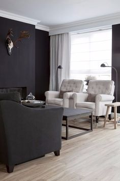 black and white Country Interior, Gray Interior, Decor Interior Design, Living Room Designs, Living Spaces, Black Rooms, House Made, House Rooms, Home Fashion