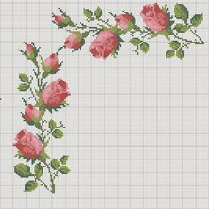 New Crochet Edging Stitches Pictures Ideas Funny Cross Stitch Patterns, Cross Stitch Borders, Cross Stitch Rose, Modern Cross Stitch, Cross Stitch Flowers, Cross Stitch Designs, Cross Stitching, Cross Stitch Embroidery, Hand Embroidery