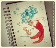 Série signes astrologiques Poissons - dessin Lily by Fifi - illustration