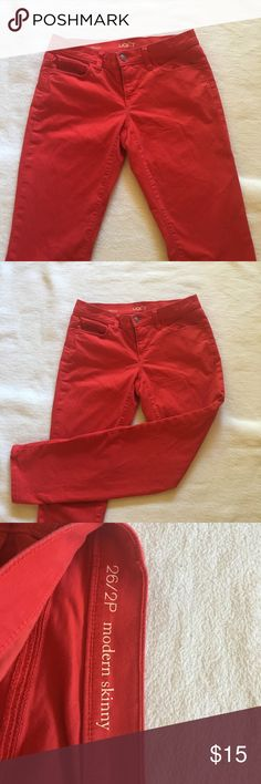 Red jeans by Loft Cute red jeans, perfect for casual holiday gatherings LOFT Jeans Skinny