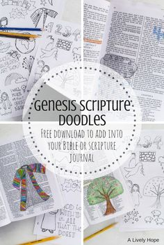 Free Scripture Doodles for the whole book of Genesis. Trace these drawings into your Bible! Scripture Doodle, Scripture Study, Bible Art, Books Of Bible, Bible Crafts, Bible Study Journal, Scripture Journal, Art Journaling, Prayer Journals