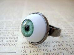 Green EyeBall Ring by iceblues on Etsy, $10.00