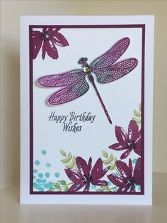 Dragonfly Dreams and Avant-Garden stamp sets used here with the Detailed Dragonfly Framelits - created by Julia Jordan