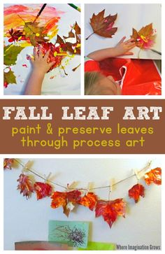 Fall leaf painting process art turns into simple DIY leaf garland for your Thanksgiving or fall decor! This leaf craft is perfect for toddlers and preschoolers and providers an easy way to paint and preserve leaves this fall! Process Art Preschool, Fall Preschool, Preschool Crafts, Kindergarten Thanksgiving, Fall Arts And Crafts, Fall Crafts For Kids, Arts And Crafts Projects, Autumn Crafts, Kids Crafts