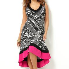 Pink Border Print Hi Lo Dress-Plus Size Dress-Avenue