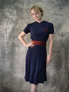 1940s Navy Rayon Dress by Petrune