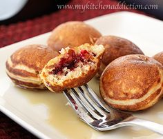 Cranberry Pomegranate Ebelskivers- I make these from a bed & breakfast I've gone. - Cranberry Pomegranate Ebelskivers- I make these from a bed & breakfast I've gone to, however Ive - Waffle Recipes, Brunch Recipes, Gourmet Recipes, Soup Recipes, Breakfast Recipes, Yummy Recipes, Aebleskiver Recipe, Yummy Treats, Yummy Food