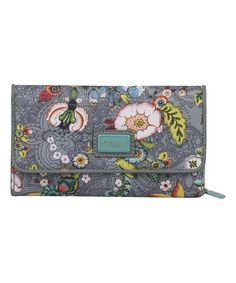 Gray French Flowers Large Wallet by Oilily #zulily #zulilyfinds