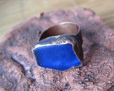 Blue Sea Glass Copper Ring by Mary Bulanova