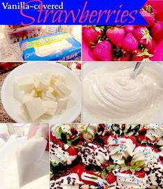 QUICK & EASY [Almond Bark] Vanilla Covered Strawberries!...For us who can't eat chocolate... Thank You Lord for looking out for me :)