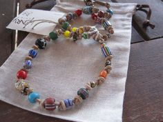 Henry Cuir Beguelin Whimsical Colorful trade bead knotted Necklace, NWT