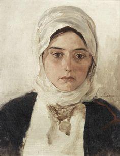 """Νικόλαος Γύζης (Nikolaos Gyzis), """"Young Girl with Headscarf"""" by Nikolaos Gyzis (Greek 1842-1901)"""