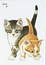 Postkaarten    Francienªs Katten    Francien Westering, van    C9274    Katten (Rood), Postkaarten, Tekeningen, Dieren, Katten,