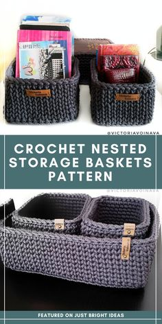 These Crochet Nested Storage Baskets are a Stylish Way to Get Organized Crochet Home Decor, Crochet Crafts, Crochet Projects, Free Crochet, Crochet Organizer, Crochet Storage, Crochet Basket Pattern, Crochet Patterns, Crochet Baskets