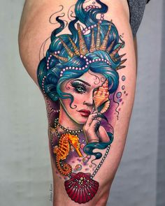 Mermaid thigh piece by Jenna Kerr, an artist working at Devil In The Detail studio in Stoke-on-Trent, England. Mermaid Thigh Tattoo, Mermaid Sleeve Tattoos, Mermaid Tattoo Designs, Seahorse Tattoo, Octopus Tattoos, Best Tattoo Designs, Back Thigh Tattoo, Colorful Sleeve Tattoos, Geometric Tattoos