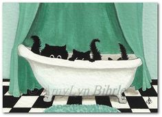 Created from one of my Original Paintings. Each one is hand signed and dated. ~ AmyLyn Bihrle ● Curious Kitties Series #353    ● Title: Three Black