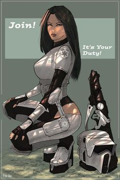 There's nothing sexier than a drawing of a hot girl, amirite? Your shame aside, this is a little gallery of Star Wars pin-up/Galactic Empire propaganda posters. Star Wars Fan Art, Star Wars Film, Star Wars Mädchen, Star Wars Poster, Meninas Star Wars, Starwars, Film Science Fiction, Comic Style, Kunst Tattoos