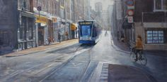Morning light at Utrechtsestraat Amsterdam | oil on linen painting by Richard van Mensvoort