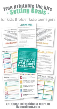 looking for a great way to teach your kids & older kids/teenagers about goal setting? get these free printable family home evening kits! there are 2 sets: one for older kids/teenagers, and a more simplified version for younger kids. each kit includes suggestions for scriptures, quotes, stories/talks, handouts, songs, and activities. all of them free and printable, of course!!   www.livecrafteat.com