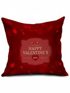 Happy Valentine's Day Cushion Cover Throw Linen Pillowcase #women, #men, #hats, #watches, #belts