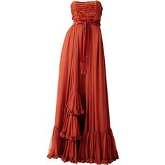 Yves St. Laurent Chiffon Evening Gown ❤ liked on Polyvore featuring dresses, gowns, long dress, vestidos, chiffon dress, long red evening dress, long red dress, yves saint laurent and chiffon ball gown