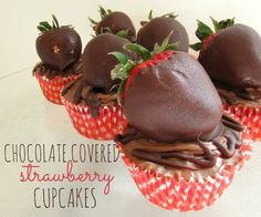Chocolate covered strawberry cupcakes recipe! See more party ideas at CatchMyParty.com. #cupcakes #chocolate #strawberry