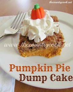 The Country Cook: Pumpkin Pie Dump Cake: I used yellow cake mix, added teaspoon each of cinnamon and nutmeg. BEST dump cake I've ever made! This WILL replace pumpkin pie from now on! Pumpkin Recipes, Fall Recipes, Holiday Recipes, Thanksgiving Recipes, Simple Recipes, Cake Mix Recipes, Dessert Recipes, Dump Recipes, Cake Mixes