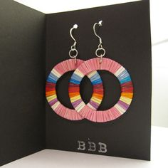 Lakota Sioux quillwork earrings in pink, by Ista Ska, available at Beyond Buckskin