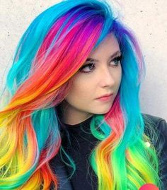 104 Pastel and also Hidden Rainbow Hair Color Ideas Cute Hair Colors, Pretty Hair Color, Beautiful Hair Color, Hair Dye Colors, Hair Color Blue, Rainbow Hair Colors, Rainbow Outfit, Bright Hair Colors, Rainbow Nails