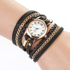 Charming Vintage Weave Wrap Leather Chain Bracelet Watch for Womens Ladies (Brown): Amazon.co.uk: Watches