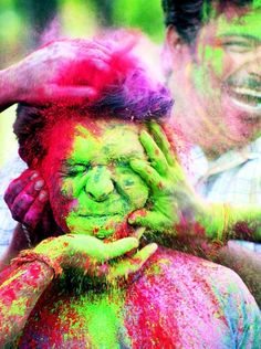 Holi Festival, India. A Hindu spring tradition where people throw brightly colored, perfumed powder at each other in celebration of spring.