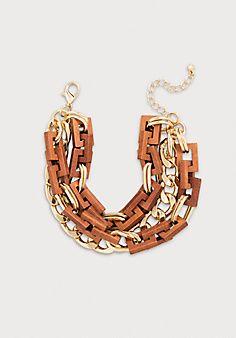 Wood & Chain Wrap Bracelet