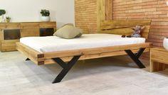 Moderní postel z masivu, ocelové nohy ve tvaru Y - 160 nebo 180 cm