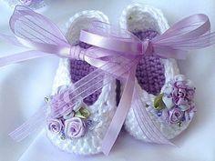 Lavender Crochet Booties, Crochet Baby Girl Booties, Easter Crochet Booties and Headband