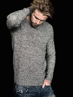 The Modern Gentleman. This melange crew neck knitwear is perfect to complete the casual look