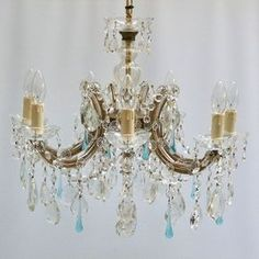 7 arm u shaped Marie Therese with clear almonds and pale blue teardrops | The Vintage Chandelier Company