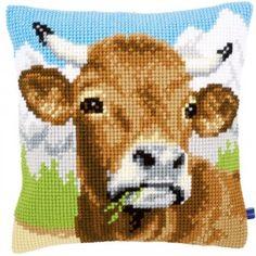 """""""Cow"""": kruissteekkussen om zelf te borduren"""
